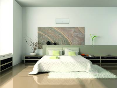 Interior of the comfortable bedroom 3D rendering. Photo on wall was made by me, I uploaded model's release